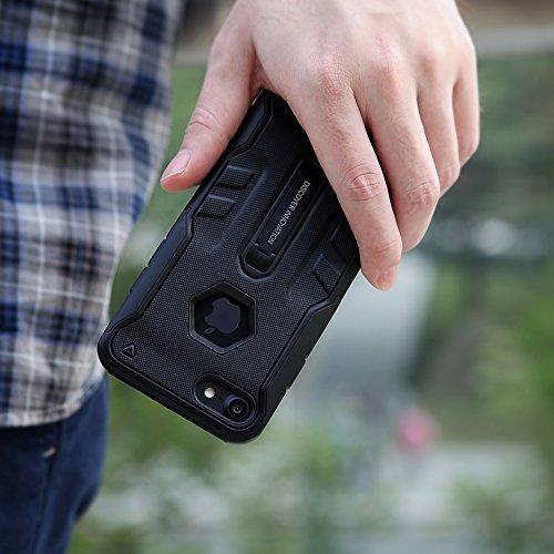 iPhone 7 Hülle, Nillkin Defender Series Armor Stoßfest Hybrid Stoßstange Rugged Hard Case Schutzhülle für iPhone 7 - Schwarz