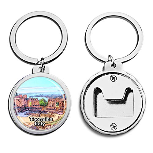 Italy Bottle Opener Keychain Taormina Greek Theater Mini Bottle Cap Opener Keychain Creative Crayon Drawing Crystal Stainless Steel Key Chain Travel Souvenirs