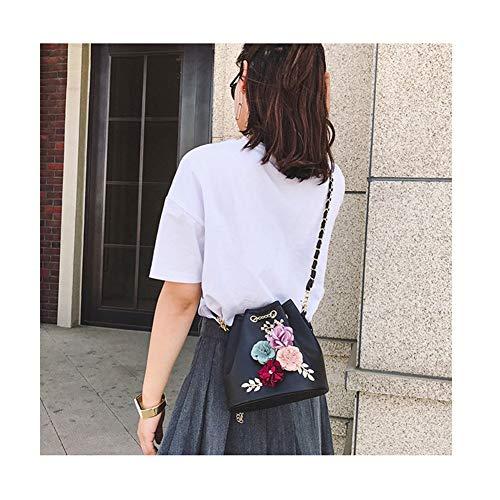rosa pompaggio della spalla della del benna modo Sacchetto di diagonale della borsa fiore Pacchetto femminile di dolce della nero signora nfHwSw7x