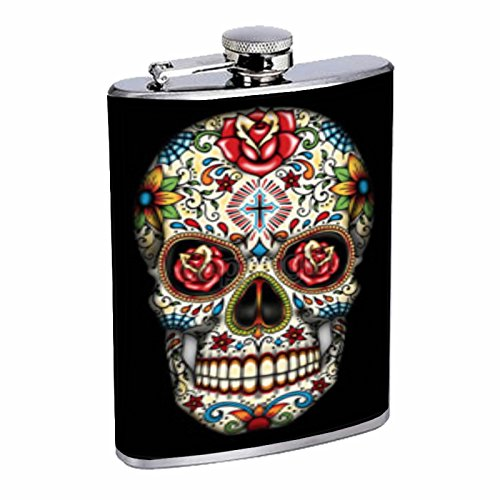 (Rose Cross Sugar Skull Have Fun Gifts Elegant Fine Touch Leak Proof Small Primo 18/8 Stainless Steel 8 OZ Flask with Personality Design Sugar Skull for men and)