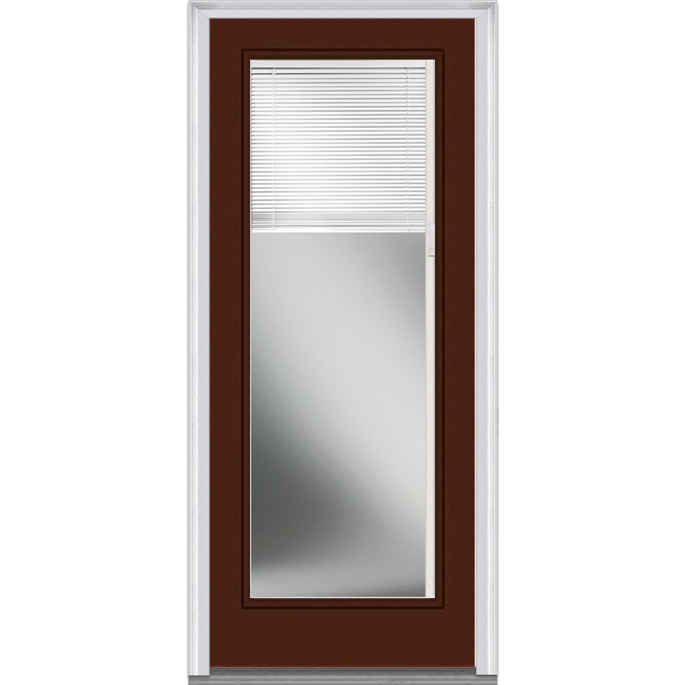 National Door Company Z010413R Steel Redwood, Right Hand In-swing, Prehung Door, Full Lite, Clear Low-E Glass with RLB, 32'' x 80''