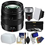 Panasonic Lumix G X Vario 12-35mm f/2.8 II ASPH Power OIS Lens with Flash + Soft Box + Diffusers + 3 Filters + Kit