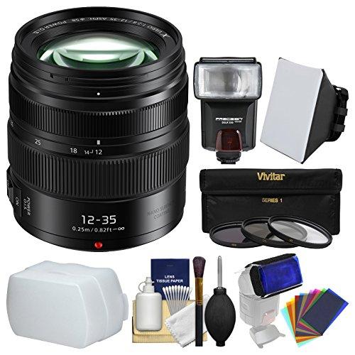 Panasonic Lumix G X Vario 12-35mm f/2.8 II ASPH Power OIS Lens with Flash + Soft Box + Diffusers + 3 Filters + Kit by Panasonic