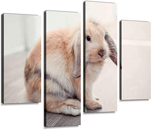Red ram Rabbit in Apartment Canvas Wall Art Hanging Paintings Modern Artwork Abstract Picture Prints Home Decoration Gift Unique Designed Framed 4 Panel