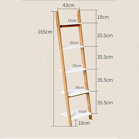 MU Estanterías para el hogar Estanterías Estantería de 4 Niveles Estantería con Escalera Blanca Unidad de exhibición Estantería de Almacenamiento Estantería Inclinada Robusta, Moderna y de Uso múltip: Amazon.es: Deportes y aire