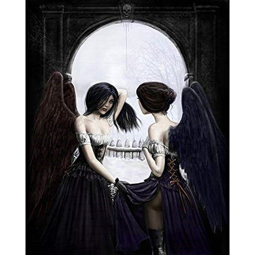 Diy Oil Painting, Adult's Paint By Number Kits, Acrylic Painting,Halloween Skull Beauty,16X20 Inch ()