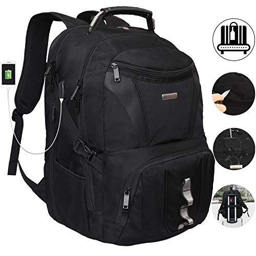 Largest Laptop Backpack - Laptop Backpacks Extra Large Up to 21Inch TSA Friendly Water Resistant Hiking Travel Shockproof School College Backpack For Men & Women Fits 18.4 Inch Laptop with USB Charging Port Headphone Wire Hole