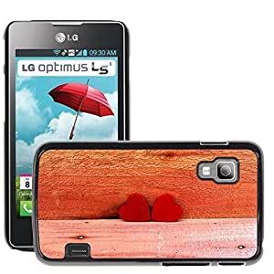 Hot Style Cell Phone PC Hard Case Cover // M00150534 Two Red Hearts Love Symbol Romance // LG Optimus L5 II Dual E455 / E460