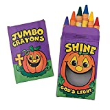 Bargain World Christian Pumpkin Jumbo Crayons (With Sticky Notes)