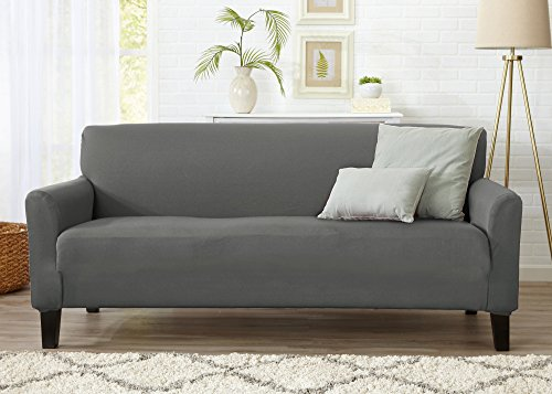 Home Fashion Designs Form Fit, Slip Resistant, Stylish Furniture Cover/Protector Featuring Lightweight Stretch Twill Fabric. Brenna Collection Strapless Slipcover. By Brand. (Sofa, Charcoal - Solid)