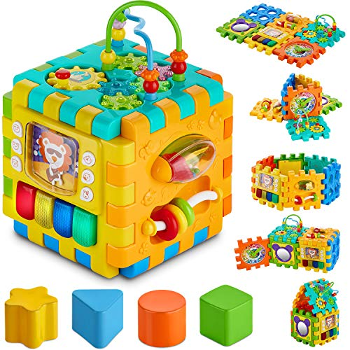 BABYSEATER Baby Activity Cube - 6-in-1 Multi-Assembly Activity Square for Babies 10m+ - BPA-Free Play Cube for Infants & Toddlers Teaches Cognitive & Motor Skills with Music, Shapes, Gears & More