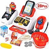 Victostar Toy Cash Register with Checkout Scanner,Fruit Card Reader, Credit Card Machine, Play Money and Food Shopping Play Set for Kids