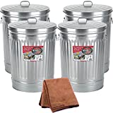 Behrens 1270 31-Gallon Trash Can with Lid, 4-Pack with Cleaning Cloth