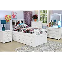 Beatrice Youth 5 Piece Twin Captains Bedroom Set in White Finish