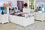 Beatrice Youth 5 Piece Full Captain's Bedroom Set in White Finish