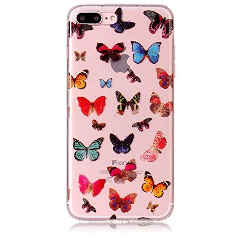 """Hülle iPhone 7 Plus / iPhone 8 Plus , LH Bunt Schmetterling TPU Weich Muschel Tasche Schutzhülle Silikon Handyhülle Schale Cover Case Gehäuse für Apple iPhone 7 Plus / iPhone 8 Plus 5.5"""""""