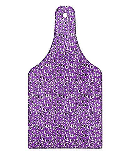 Lunarable Eyeball Cutting Board, Abstract Halloween Inspired Pattern with Irregular Order Eyes, Decorative Tempered Glass Cutting and Serving Board, Wine Bottle Shape, Violet Charcoal Grey and White -