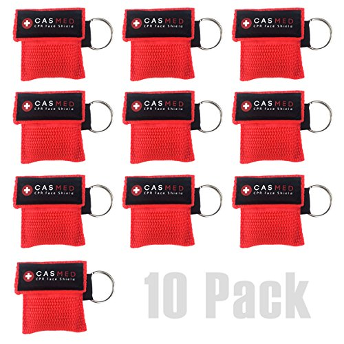 Barrier Keychain (CPR MASK KIT with ONE-WAY VALVE. Face Shield. Keyring 10 PACK - Disposable & Safe First Aid. Barrier. Emergency Rescuer & AED Training. Key-ring Pouch. (Red))