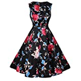 YOUCOO Women's Vintage Round Neck Sleeveless Floral Print Tea Party Dress With Belt