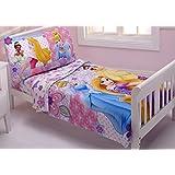 Disney Princesses Wishes & Dreams 4 Piece Toddler Bedding Set: Cinderella, Aurora, Rapunzel, Belle And Tiana (Toddler Size)