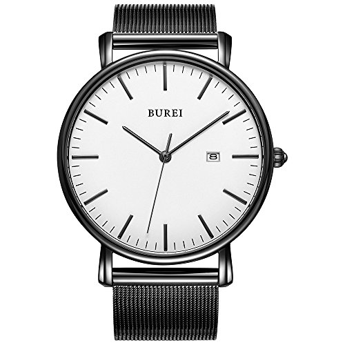 (BUREI Men's Wrist Watch Ultra Thin Minimalist Quartz Watches White Face with Date and Black Milanese Mesh Band)