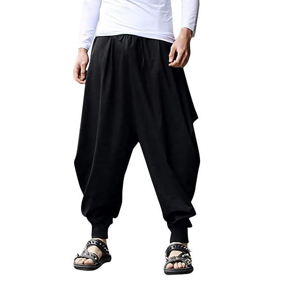 expédition de baisse codes promo meilleur en ligne Longra Homme Solide Pantalon Harem Pantalon Linge de Coton ...