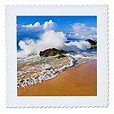 3dRose Danita Delimont - Beaches - Crashing waves at Hanakapiai Beach, Na Pali Coast, Kauai, Hawaii - 16x16 inch quilt square (qs_259233_6)