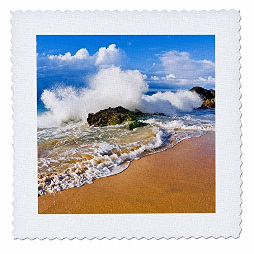 3dRose Danita Delimont - Beaches - Crashing waves at Hanakapiai Beach, Na Pali Coast, Kauai, Hawaii - 16x16 inch quilt square (qs_259233_6) by 3dRose