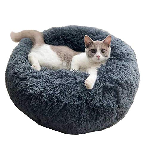 Vesna market Luxury Faux Fur Donut Cuddler Dark Grey Round Donut Cat Bedding Fluffy Dog Bed Dog Cat Bedding,Winter Pet House (Double Bed Microvelvet Donut)