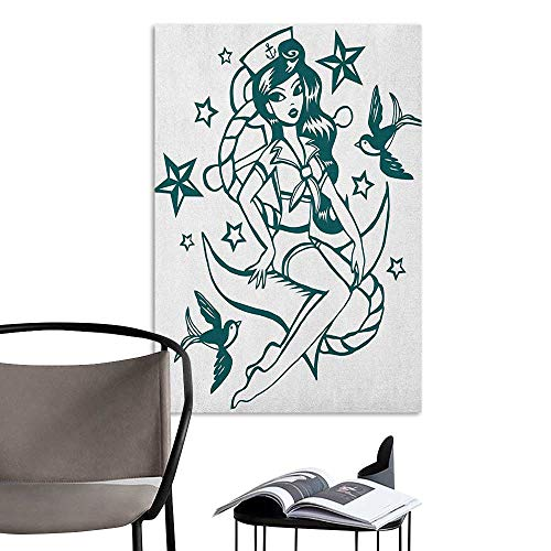 Brandosn Home Decor Decals Mural Anchor Pin up Girl Nautical Sailor Suit Surrounded by Swallow Birds Stars Hand Drawn Dark Blue White Living Room Wallpaper W16 x H20]()