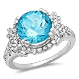 Sterling Silver Round Blue Topaz & White Diamond Ladies Halo Style Bridal Engagement Ring (Size 5.5)