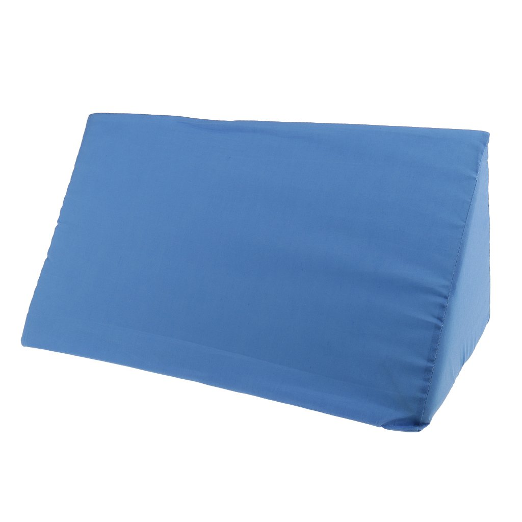 Fenteer High Density Foam Orthopedic Acid Reflux Bed Wedge Pillow Back Leg Elevation Cushion Anit Bedsore Pressure Pain Relief White Blue - Blue