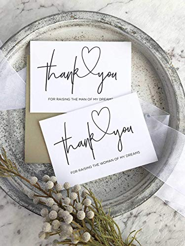 Thank You Man of Dreams Modern Wedding Day Card Set For Parents in Law Black and White