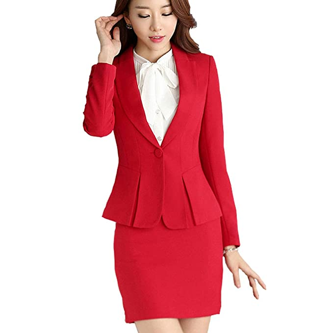 647956414 Women 2 Pieces Solid Blazer Single-Breasted Office Lady Suit for ...
