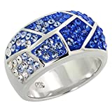 Sterling Silver Freeform Blue Sapphire Rainbow CZ Ring 7/8 inch, size 7