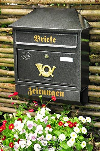 Wandbriefkasten,Briefkasten, groß XXL, Premium-Qualität aus Stahl, verzinkt, pulverbeschichtet W Walmdach schwarz anthrazit dunkelgrau Zeitungsfach Zeitungsrolle Postkasten