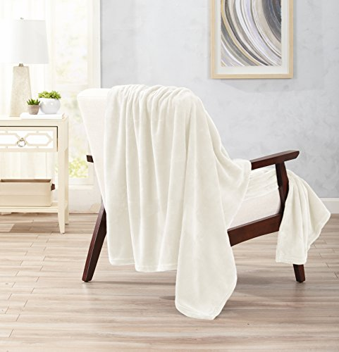 Home Fashion Designs Ultra Velvet Plush Super Soft Oversize Throw Blanket. Lightweight, Warm Blanket in Solid Colors. Marlo Collection Brand. (Whisper White)