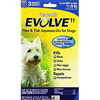 Sergeants Evolve 11 Flea and Tick Squeeze-On for Dogs, 11-20 lbs