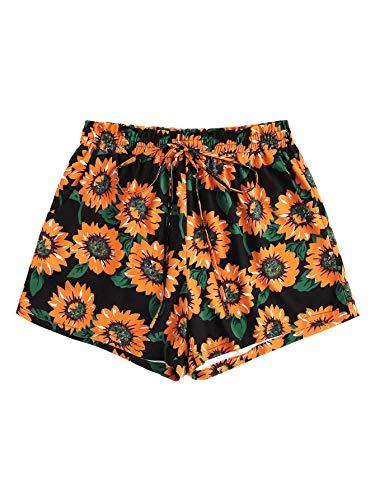 Floerns Women's Plus Size Shorts Summer Floral Tie Waist Shorts with Pockets Black 2XL
