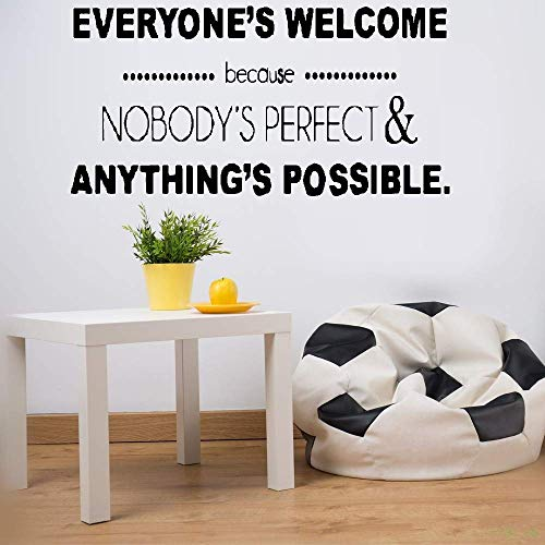 gapaes Wall Sticker Lettering Quotes and Saying Wall Sticker Decals Everyone's Welcome Because Nobody's Perfect & Anything'S Possible for Office Home Decor