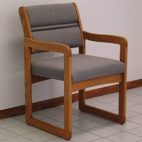 Wooden Mallet Sled-Base Valley Guest Chair, Medium Oak, Charcoal Grey ()