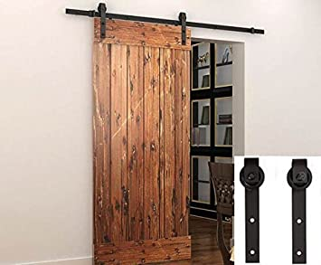 Sliding Barn Door Hardware Set Black 6.6 FT   Antique Style