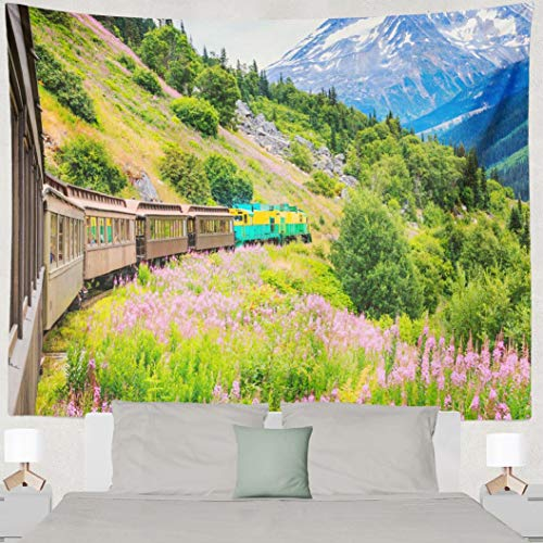Hdmly White Tapestry, Decorative Wall Tapestry Alaska Scenic White Amp Route Railroad 60x80 Inch Tapestry Wall Art for Men Kids Home Decor Bedroom Living Room Dorm Tapestry Wall Hanging