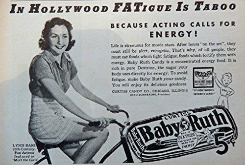 Baby Girl Magazine (Baby Ruth Candy Bar, 30's Print ad. B&W Illustration (Lynn Bari/girl on bicycle) oiginal Vintage 1937 Liberty Magazine Print Art)