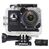 WiMiUS Full HD Action Camera Built-in WiFi Sports Camcorder Waterproof 98 Feet with 2 Rechargeable Batteries and Mounting Accessories 1080P