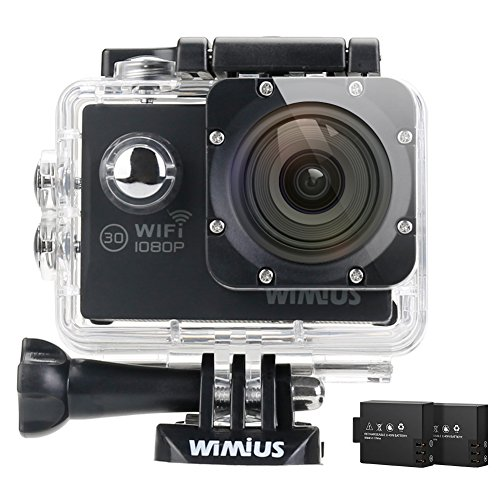 WiMiUS Action Camera HD 1080P 12MP 30M Underwater Cameras 170° Wide Angle Dual Rechargeable Batteries with Waterproof Case Kit of Accessories for Swimming, Surfing, Diving, Snorkeling etc, Q2