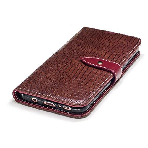 Trumpshop Smartphone Carcasa Funda Protección para Samsung Galaxy S8 (5,8 Pulgada) [Vino Rojo] Patrón de Piel de Cocodrilo PU Cuero Caja Protector Billetera Choque Absorción Marrón
