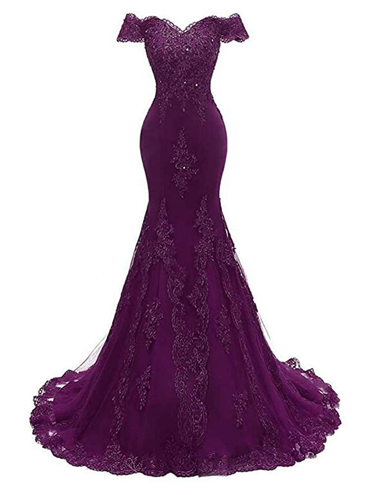 Grape Emmani Women's V Neckline Lace Appliques Beaded Prom Gown Formal Mermaid Long Evening Wedding Dresses