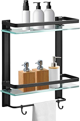 Hoimpro Bathroom Lavatory Glass Shower Shelf, Tempered Glass 2 Tier Shelves with Towel Bar Wall Mounted Shower Storage, Square Style, Heavy Duty Aluminum Matte Black
