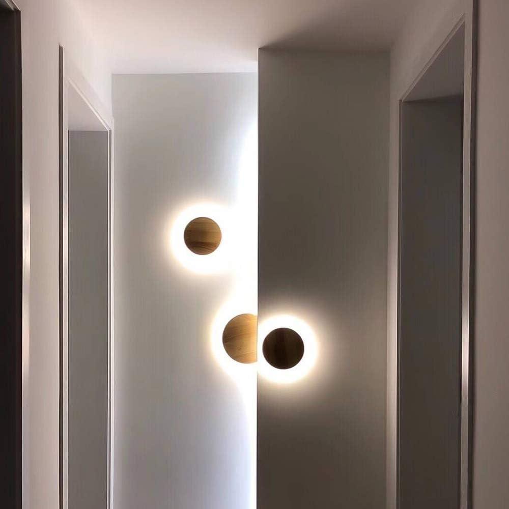D/écoratif Moderne Rond LED /éclairage Mural 660LM pour Salle de s/éjour Chambre caf/é Couloir Mur plafonnier,/Ø19cm12W LLLKKK LED Applique Murale /À lint/érieur Bois Applique Blanc Chaud 3000K Salle